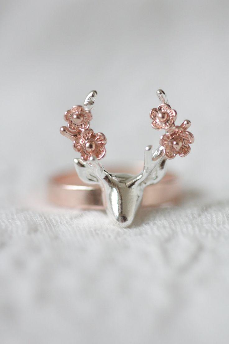 Sterling silver deer with flower ring rose gold deer by TedandMag - Love!