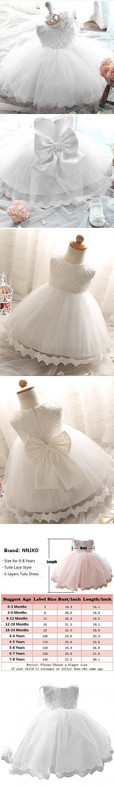 NNJXD Girls' Tulle Flower Princess Wedding Dress For Toddler and Baby Girl White 0-3 Months