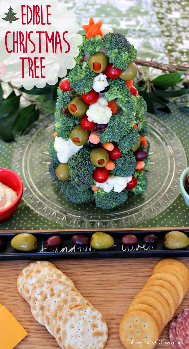 OMG... The Edible Christmas Tree Appetizer is so festive, cute and easy to make! Plus, it's healthy too. Make this instead of a veggie tray for your next holiday appetizer.  TablerPartyofTwo.com