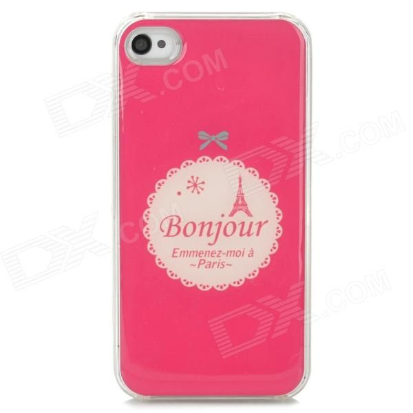 Protective Cartoon Eiffel Tower Epoxy Dripping Plastic Back Case for Iphone 4 / 4S - Deep Pink