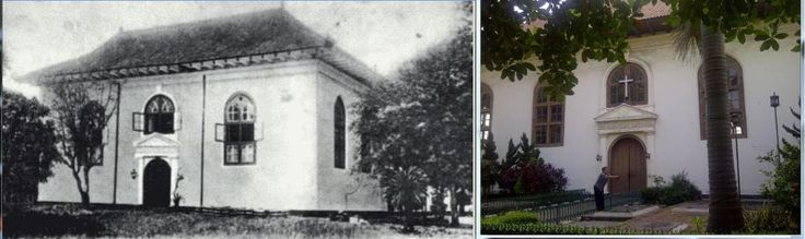 Sion Church in Jayakarta Street, Jakarta. What a beautiful building it stands proud up to now... Left photo was taken in 1880, right photo taken in 2012