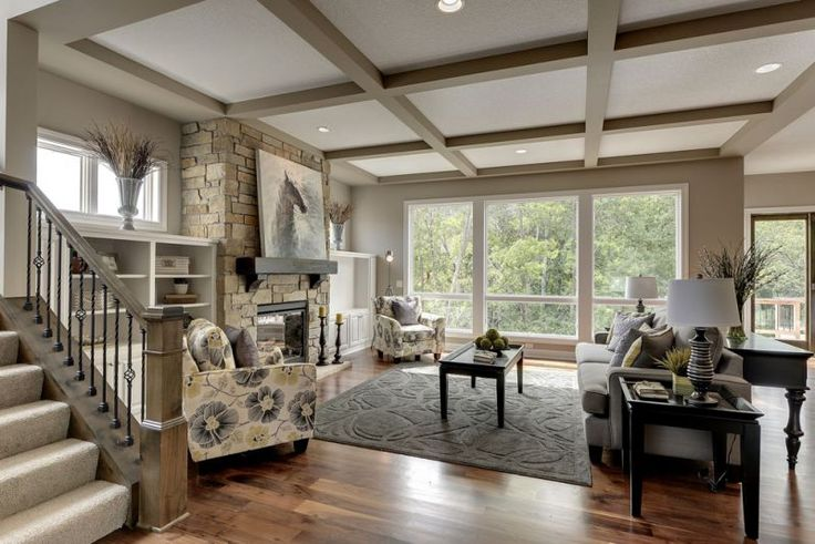 Great Room With Coffered Ceiling Open Floor Plan Great
