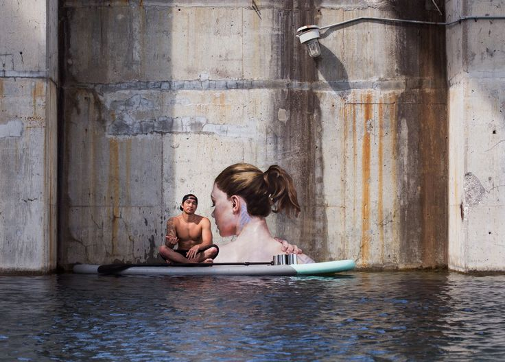 """••Hyperrealism """"submerged"""" portraits painted from surf board!•• (3a) Hawaiian st artist Sean Yoro """"Hula"""" mystifies Abandoned places ; ) • triple magic: 1.beautifies ruins  2.intriguing mystique  3.hidden curiosity (body under water)  4.water reflection..."""