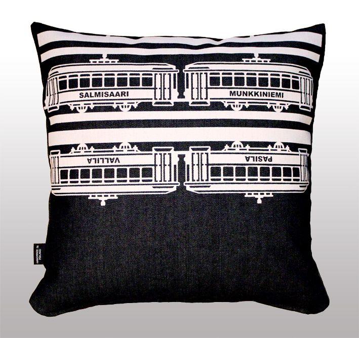 Tram -tyynynpäällinen // Tram -cushion cover. Design by Pisama Design