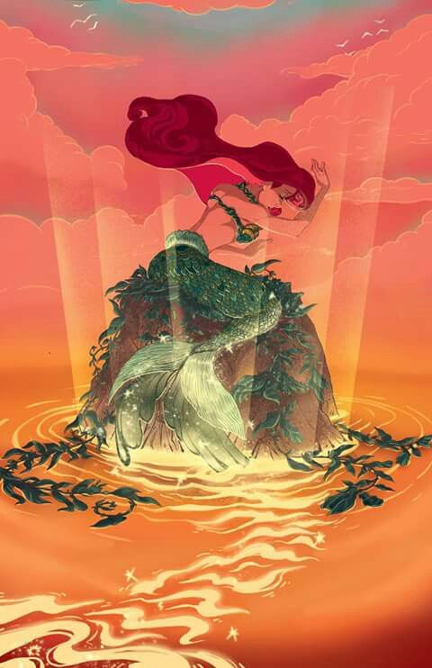 Ariel the little mermaid Disney princess fan art just before she turns human