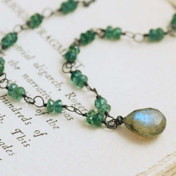 Green Blue Gemstone Necklace Sterling Silver Handmade by aubepine, $79.50
