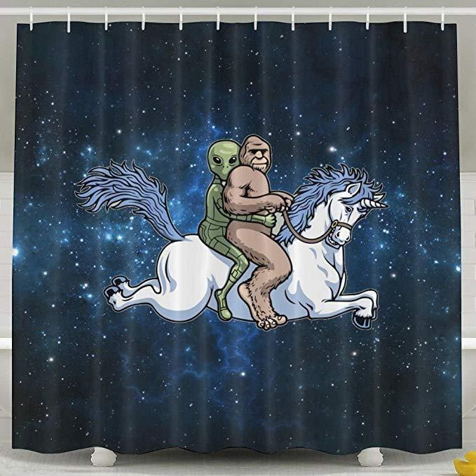 Bigfoot Alien Unicorn Shower Curtain Bathroom Decor Unicorn Pattern Waterproof Fabric Bathroom Shower Curtains