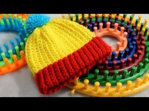 Gorro Tejido con Telar Redondo / Circular - FACIL !- Loom Knit Hat in Spanish - YouTube
