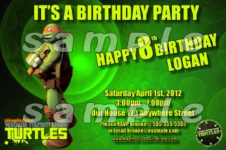 TEENAGE MUTANT NINJA TURTLES 4X6 INVITATIONS WITH ENVELOPES$21.00