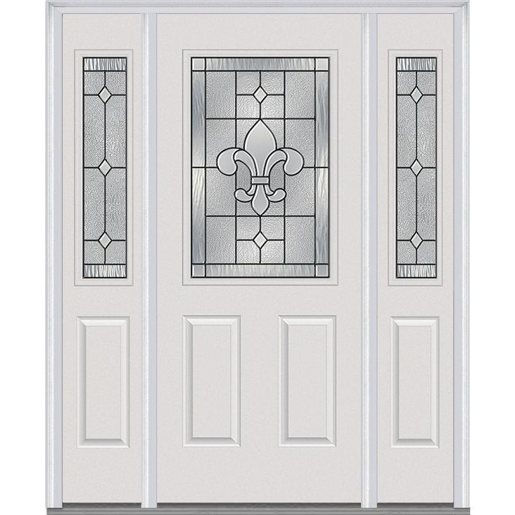 Milliken Millwork 64.5 in. x 81.75 in. Carrollton Decorative Glass 1/2 Lite Painted Majestic Steel Exterior Door with Sidelites, Brilliant White