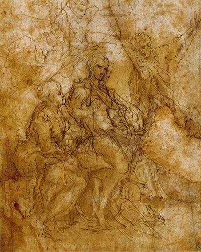 Disegno preparatorio per la Allegoria della Virtù.  Louvre.  Cabinet des Dessins