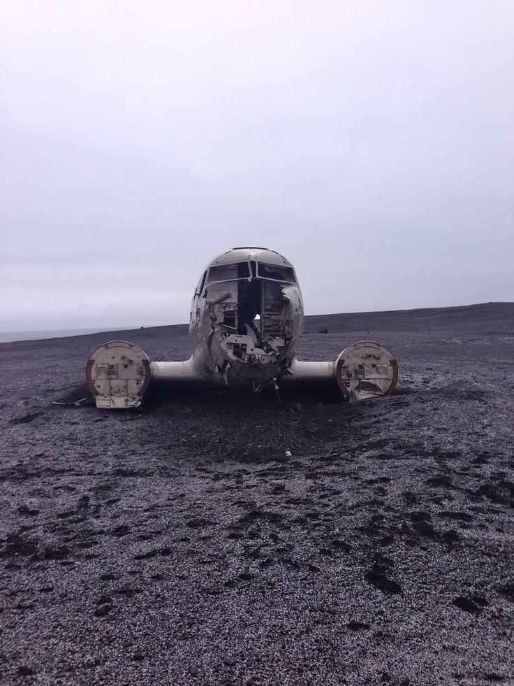 Abandoned crashed plane on the Black Sand Beach in Vik
