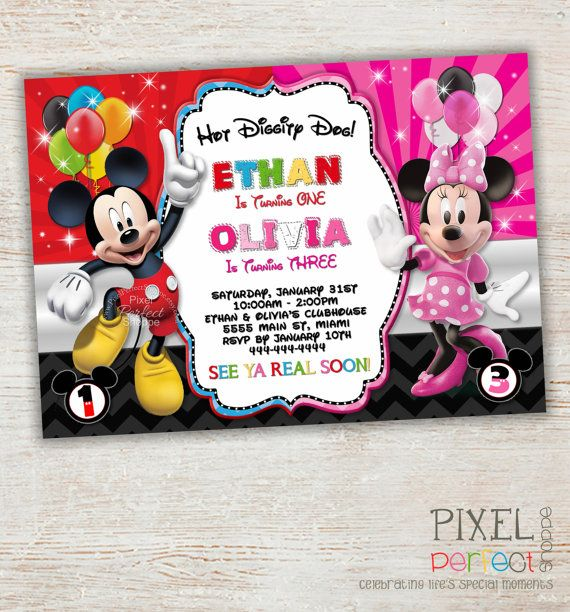 123 best Mickey Mouse Invitations images on Pinterest Mickey mouse