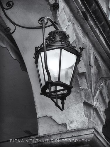 SHINE. One of the famous light lanterns of the Liston. Corfu Greece.