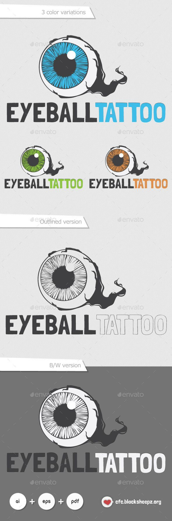 Eyeball Tattoo by cfc_blacksheepz Ideal for a Game Development Company, Radio Station, Tattoo Shop Includes: Easy To Edit Layered AI Everything is done in vector