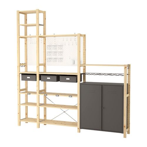 £262 IKEA IVAR/SKÅDIS 3 sections/cabinet/shelves 219x30x226 cm Untreated solid wood is a durable natural material which is even more hardwearing and easy to...