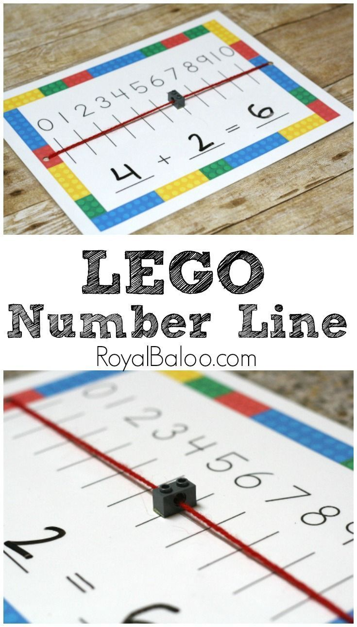 LEGO Number Line mat for hangs on LEGO addition and subtraction!