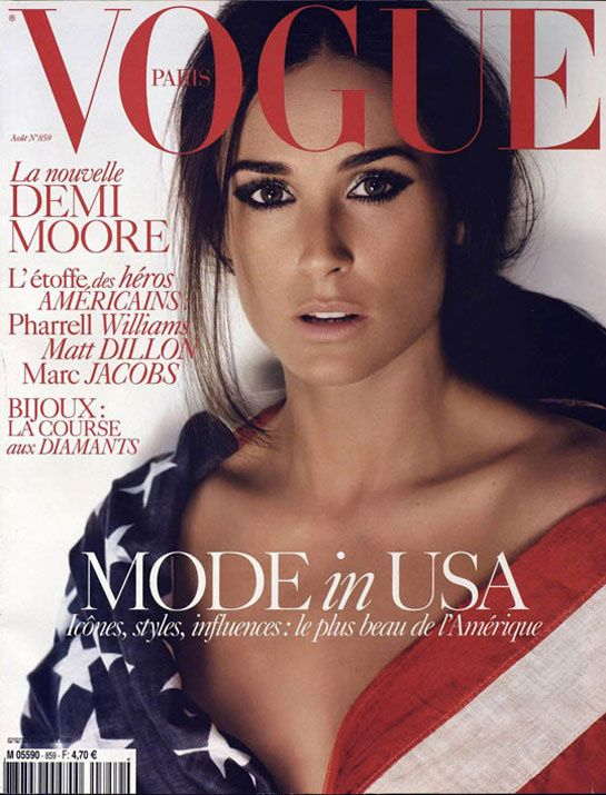 Demi Moore pour le numéro d'août 2005 de Vogue Paris: http://www.vogue.fr/photo/les-couvertures-de/diaporama/le-cinema-en-couverture-de-vogue-paris/7774/image/517049#demi-moore-pour-le-numero-d-039-aout-2005-de-vogue-paris