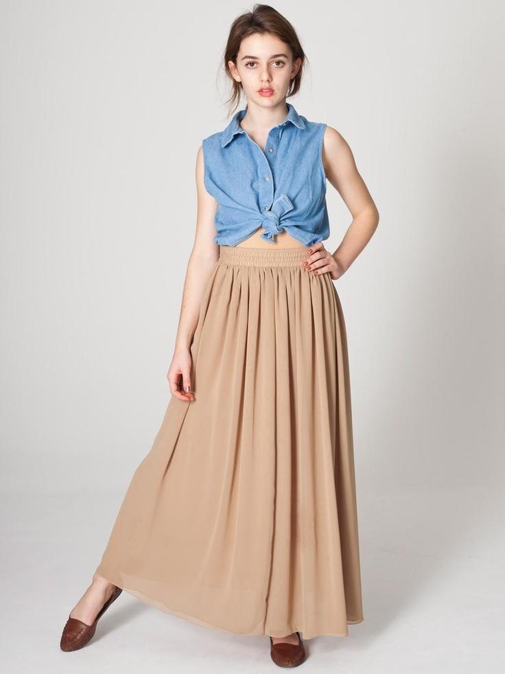 American Apparel Chiffon Double-Layered Full Length Skirt