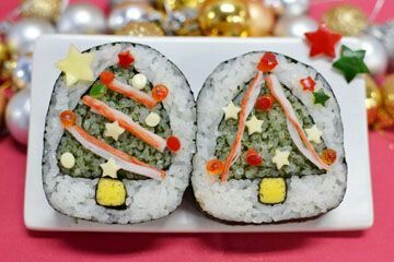 Sushi made to be Christmas trees