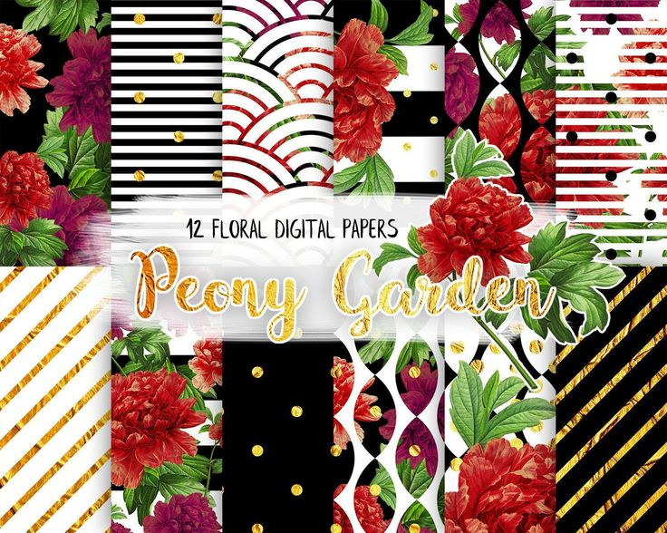Floral Digital Paper Pack,Black and White, Gold, Peony Flower, Red, Modern Pattern, Blossom, Scrapbooking Paper by CamDoodleArt on Etsy