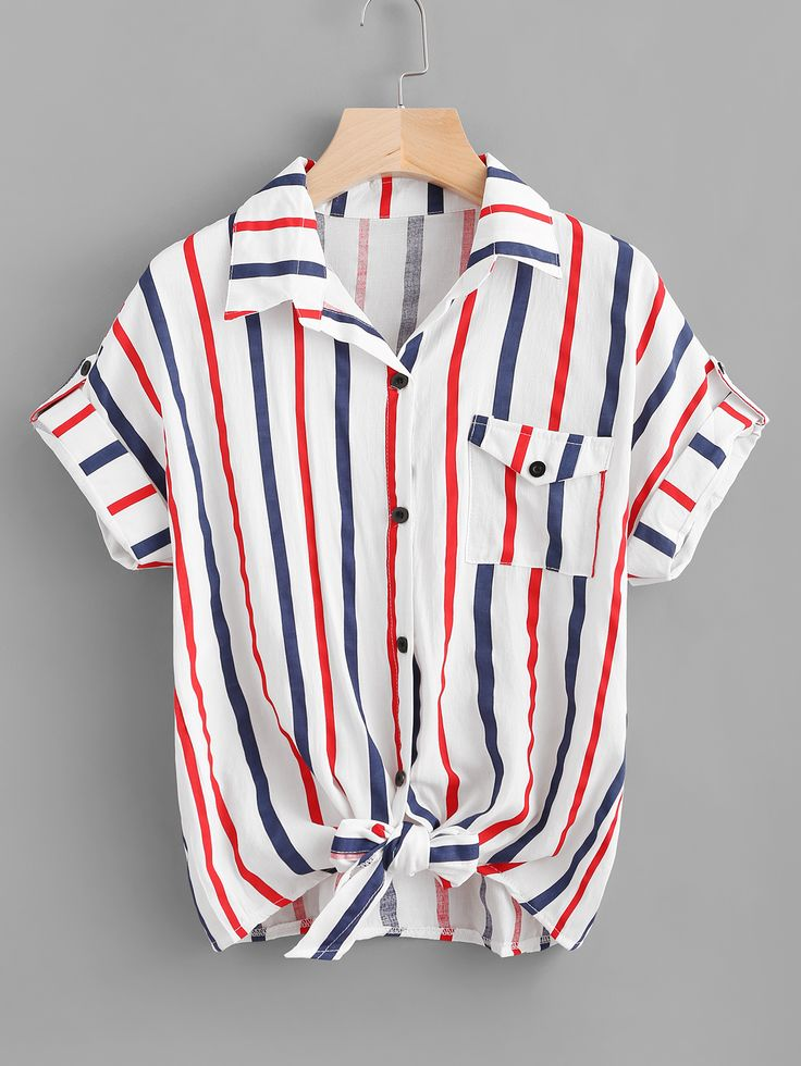 Shop Striped Knot Front Cuffed Shirt With Chest Pocket online. SheIn offers Striped Knot Front Cuffed Shirt With Chest Pocket & more to fit your fashionable needs.