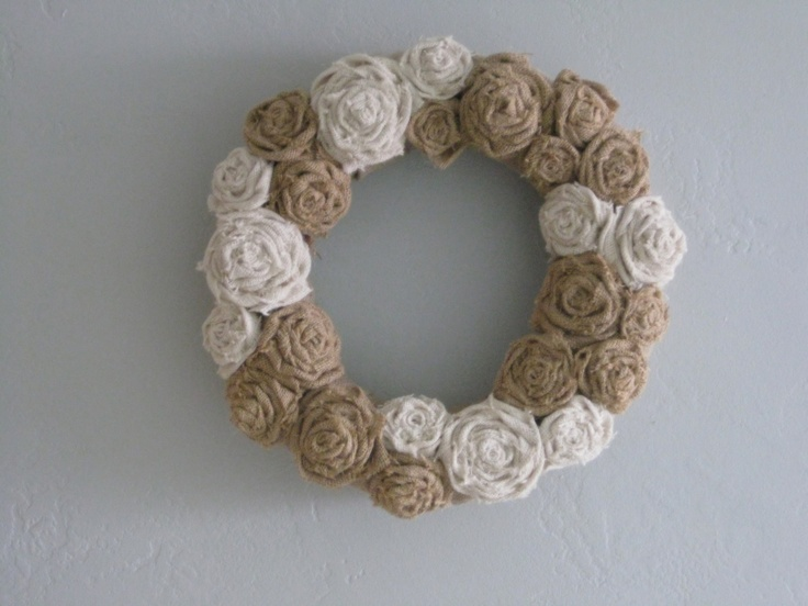 """Burlap wreath - 14"""" natural and ivory. $39.00, via Etsy."""
