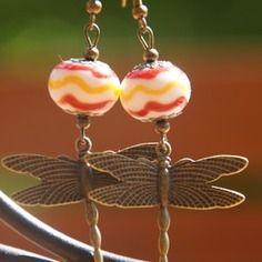 Boucles d oreilles verre de murano filé au chalumeau libellule
