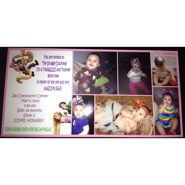 My homemade tangled invitations for Kaedyn Rae's 1st birthday party! Walmart photo center printed them!