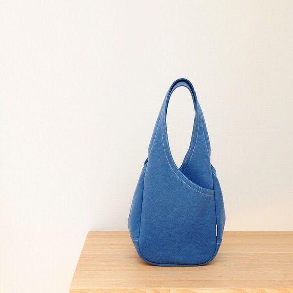 ドロップ (S) / ブルー 【受注製作】 Trocco 帆布バッグ