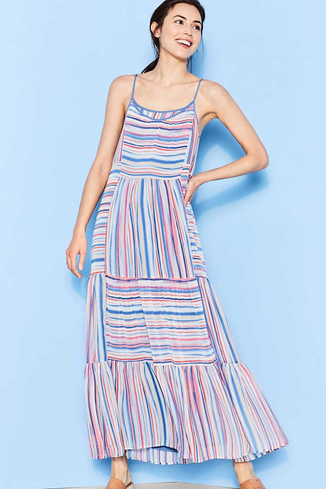 Esprit / Maxi dress with multi-coloured stripes
