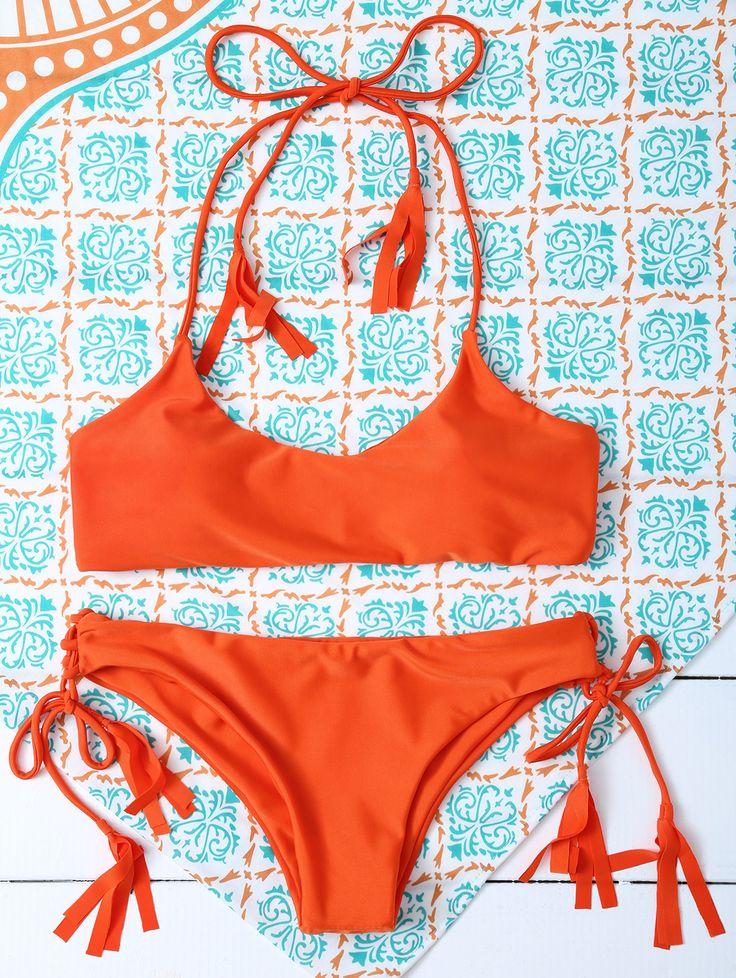 $13.35 Tasselled Halter Bikini Set