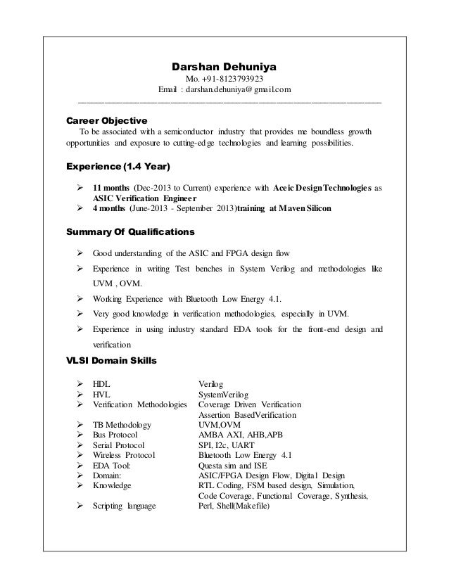 Resume Format Vlsi Design Engineer , #design #engineer #format ...