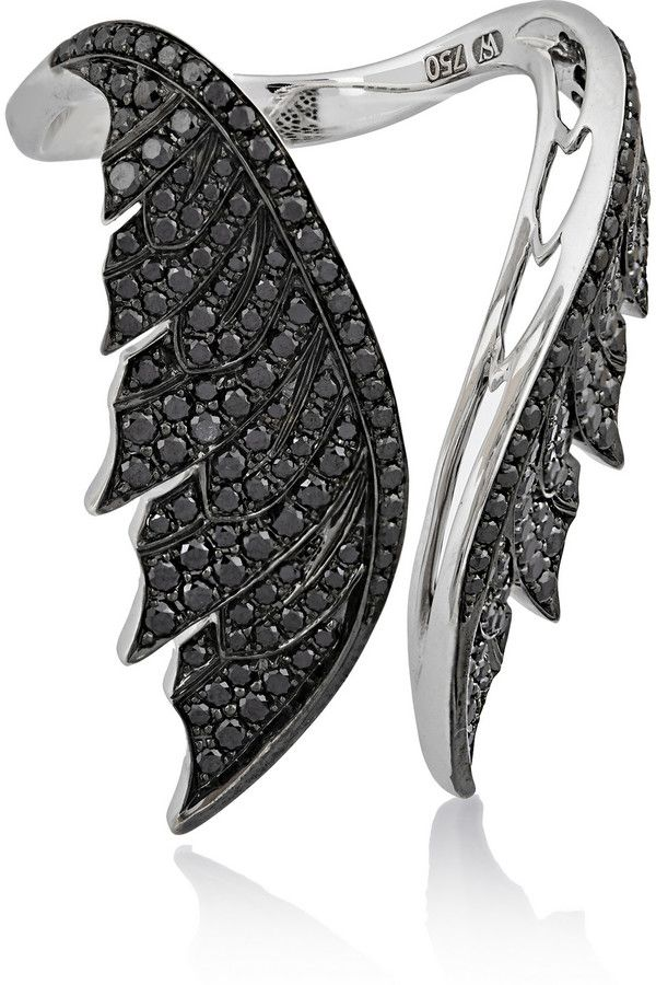 Stephen Webster Magnipheasant Open Wing 18-Karat White Gold Diamond Ring
