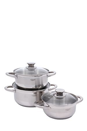 Stainless steel Legend pot set with mirror polish finish and tempered glass lids. The 3 pots have a holding capacity of 1L, 1.5L and 2.5L. Aluminum encapsulated base with cool touch handles, 3 layer base ensures quick and even heat distribution, easy pour rim on cookware prevents dripping. Cookware has graduated measurements inside of pots. This pot set comes with a 25year warranty.