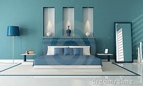 slaapkamers met blauwe muren