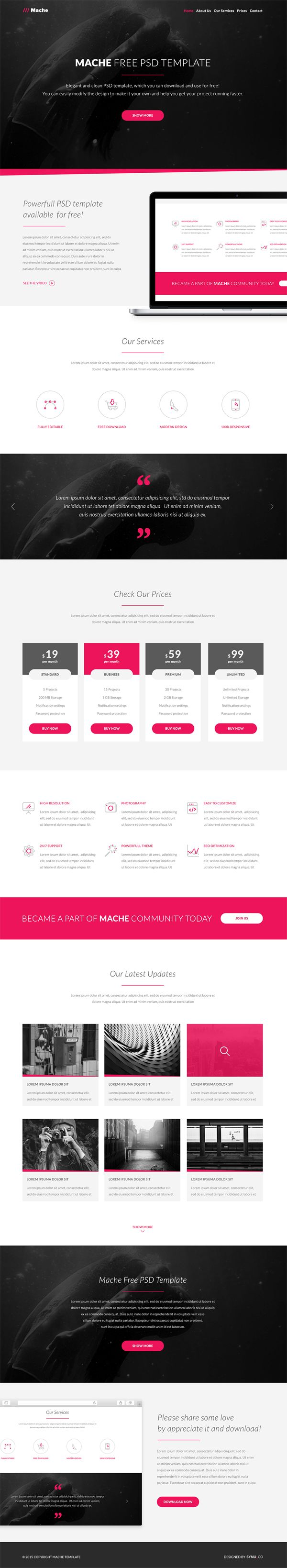 Free One Page PSD Template