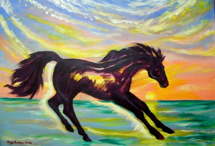 """Horse at Sunset""Painting by Lucy Baker,signed original,33""x44"",2016 #Fauvism"