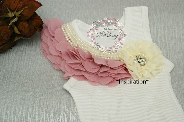 *Inspiration* #DIYembellishedsinglet #Embellishedbabysinglet We are using: - Blank singlet - Pearl Peonies Collar Applique (Dusty rose) - Parisian flower (Ivory)  www.2Bling.com.au