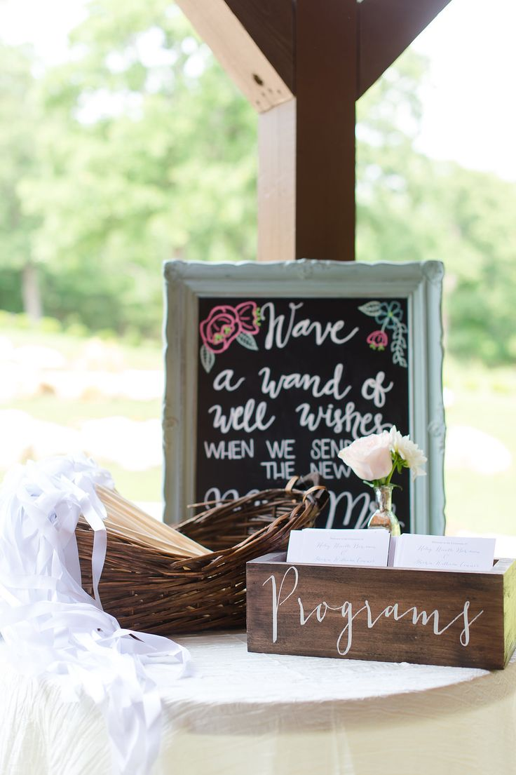 """Such a cute sign for a ribbon wand wedding send off!  """"Wave a wand of well wishes when we send off the new Mr. and Mrs.""""  Taken at THE SPRINGS Event Venue in Aubrey, TX.  Book your free tour today! Photographer:  Julia M Photography"""