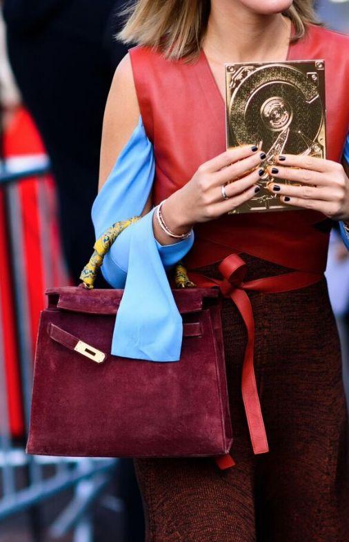 4fa34736a1 Suede burgundy Birkin bag.