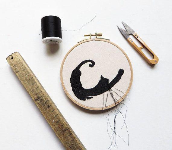 Promotion hoop art black Cat embroidery textile by KusKatStudio, fiber art for catlover
