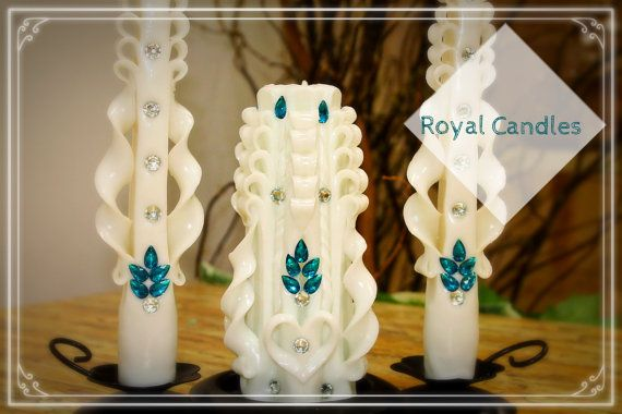 Set of carved wedding candles Lazur от RoyalCarvedCandles на Etsy