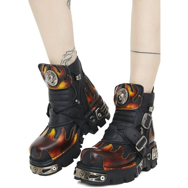 New Rock World On Fire Boots (982.180 COP) ❤ liked on Polyvore featuring shoes, boots, rock shoes, new rock boots, rock boots, new rock shoes and buckle shoes