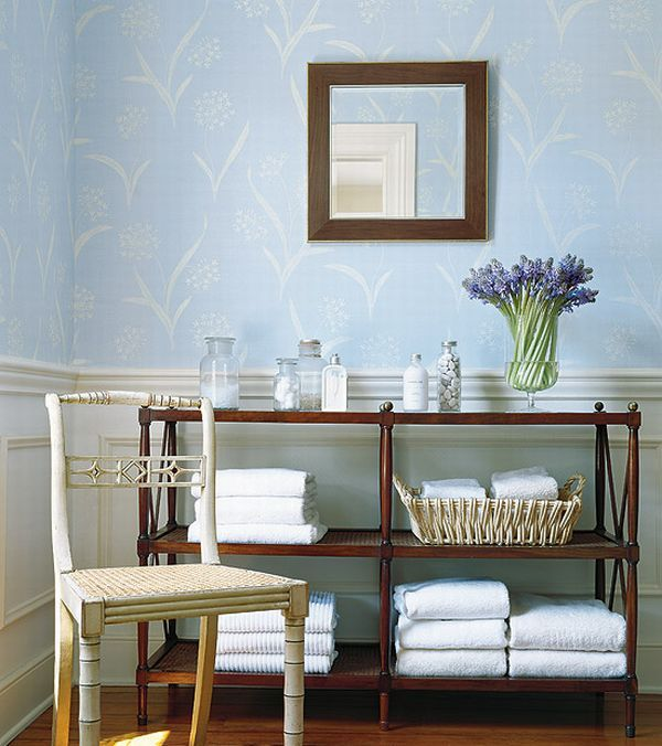 Soft Blue Wallpaper In French Country Style Bath Room Decorating Idea Home Designs And