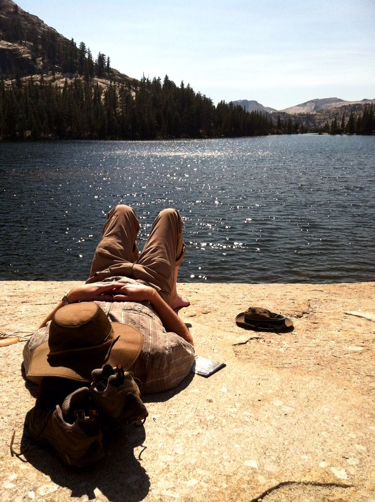 Nap at Lower Cathedral Lakes in Yosemite National Park.