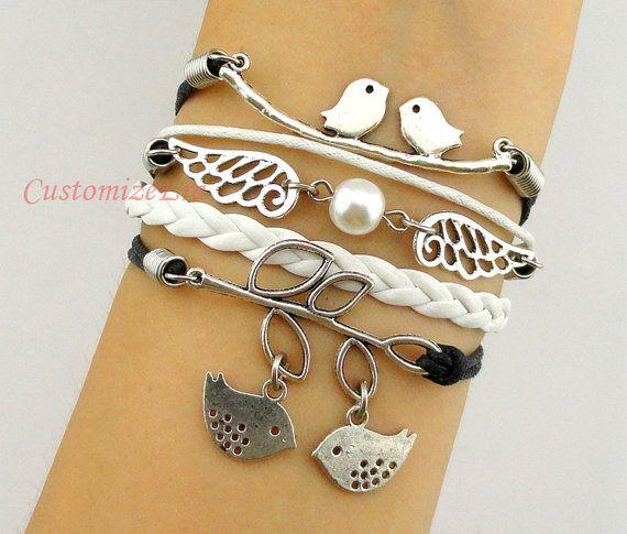 Harry potter bracelet,wing bracelet,bird bracelet,love birds,charm bacelet,bridesmaid bracelet,friendship,gift for girl friend,boy friend on Etsy, $7.88