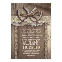 Unique design rustic country wedding invitation featuring two horseshoes tied with old twine ribbon. This western wedding invite is full of all charming details: decorated with ivory lace, composed on the old barn wood background and piece of burlap cloth.Perfect wedding invite for farm, barn and village weddings with western / country themes and horseshoe centerpiece accents.