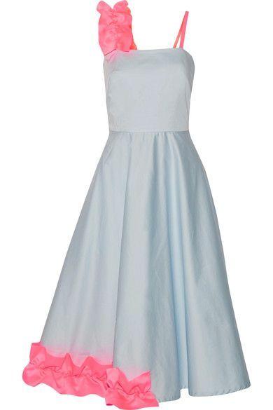 Paskal | Ruffled satin-trimmed stretch-cotton poplin midi dress | NET-A-PORTER.COM
