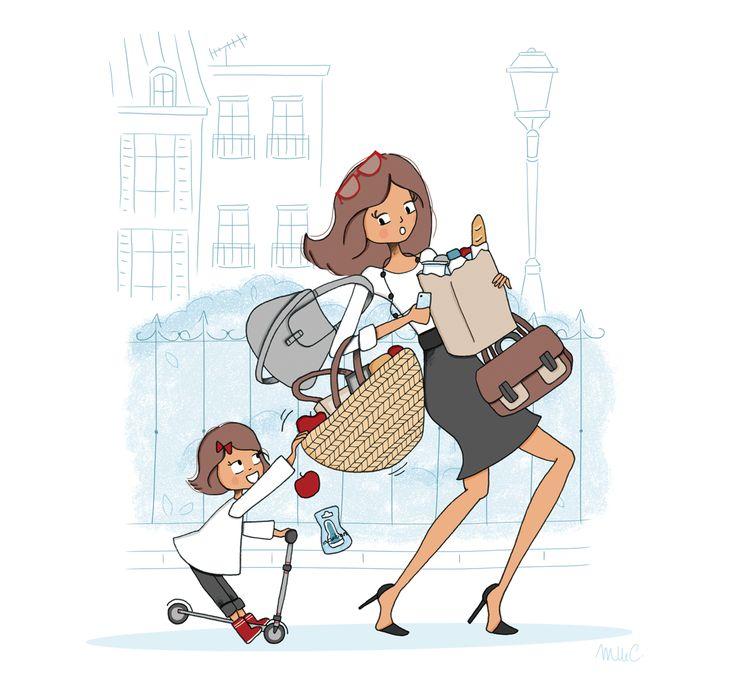 Мама и дочка смешные картинки нарисованные